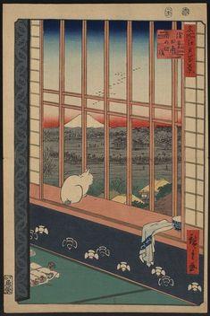 Asakusa ricefields and torinomachi festival. / Hiroshige    名所江戸百景 浅草田甫 酉の町詣 歌川広重画 1857年