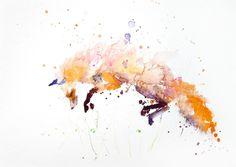 JEN BUCKLEY signé LIMITED EDITON PRINT 'Leaping Red Fox' - Jen Buckley Art en édition limitée imprime art animalier