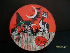 Vintage Halloween Noisemaker ~ Tin Witch & Cat Tin Ratchet Toy by US Metal * Circa, 1950's