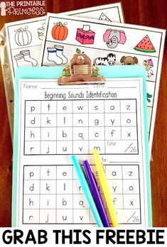 Beginning sounds is an important skill in Kindergarten and early primary classrooms. Stop by and pic Letter Sound Activities, Learning Letters, Alphabet Activities, Kids Learning, Preschool Activities, Letter Sound Games, Learning Spanish, Kindergarten Assessment, Kindergarten Centers