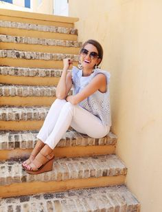 Ask your Stitch Fix stylist for items like this is your next Fix. Spring & Summer fashion trends 2017. #sponsored #stitchfix light blue ruffle sleeveless top, white skinny jeans, neutral nude/camel wedge sandal.