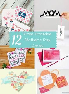 12 Pretty Free Printable Mother's Day cards.