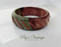 Vintage Wood And Leather Bangle/Green And Brown Wooden Bangle/Boho Bracelet Jewelry by PegsVintageJewellery on Etsy