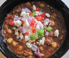 Greek Chili - this is a combination I would not have thought of but it looks yummy!