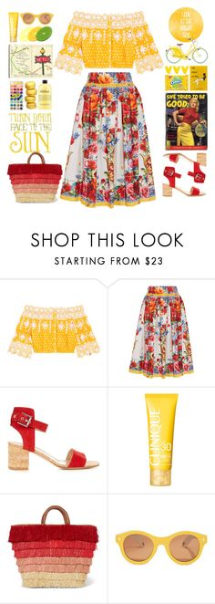 """Bright Side"" by doga1 ❤ liked on Polyvore featuring Miguelina, Dolce&Gabbana, Gianvito Rossi, Moleskine, Clinique, Kayu and Lucy Folk"