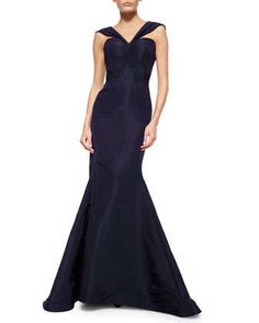 V-Strap Faille Mermaid Gown by Zac Posen at Neiman Marcus.