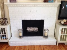Mini-Makeover, painted brick fireplace