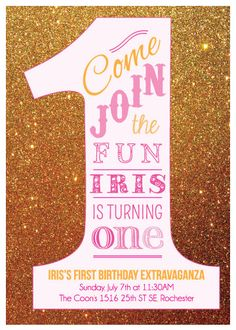 First Birthday Pink Ombre Gold Glitter 1st by BirchTreeDesign