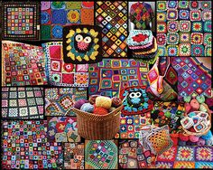 Granny Squares Jigsaw Puzzle, Collage Puzzle-White Mountain Puzzles.   1000 Piece Jigsaw Puzzle.