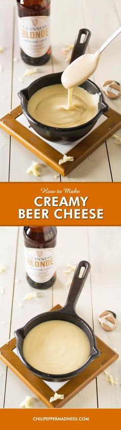 How to Make Creamy Beer Cheese Sauce - Make your own creamy beer cheese at home with this recipe using melty cheddar (or other) cheese, beer and any other seasonings you'd like. Build your own recipes with this base, though it is amazing on its own. Perfe