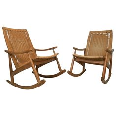 Mid-Century Modern Wegner Style Rocking Chairs | From a unique collection of antique and modern rocking chairs at https://www.1stdibs.com/furniture/seating/rocking-chairs/