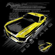 214d339d332d9 Ford Mustang Vintage Boss 302 Yellow Car Adult Unisex SHORT SLEEVE T Shirt  21280D1