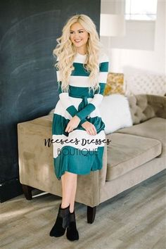 Emerald & White Bold Stripe Modest Dresses