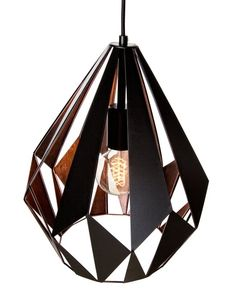 EGLO vintage hanglamp Carlton zwart koper. Deze lamp is geschikt voor lichtbronnen van alle energieklassen en wordt exclusief lichtbron geleverd.