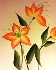 Smiley lillies  :)  Painting on my next customer's little girl's bedroom wall.....so had to paint a few samples :)