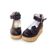 3 1/2'' Heel With 2'' Platform Black Flower Ankle Straps Buckle PU... ❤ liked on Polyvore featuring shoes, lolita, flats, heels, ankle strap flats, black flats, black ankle strap flats, high heel shoes and black flat shoes