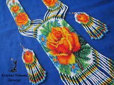 Купить или заказать Гайтан (гердан) из бисера 'Желтая роза' в интернет-магазине на Ярмарке Мастеров. Авторская работа. Гайтан 'Желтая роза' выполнен в технике бисерного ткачества. Нежные голубые цветочки придают розе еще большую яркость. В таком стильном украшении невозможно остаться незамеченной. Гайтан можно носить не только с платьем или водолазкой, он прекрасно смотрится и на рубашке или блузе. По желанию покупателя гайтан может быть дополнен серьгами (цена 350 рублей).