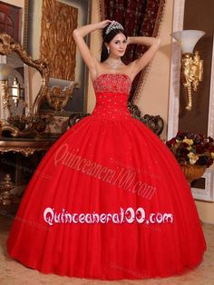 Red Ball Gown Strapless Floor-length Tulle Beading 16 Birthday Party Dress