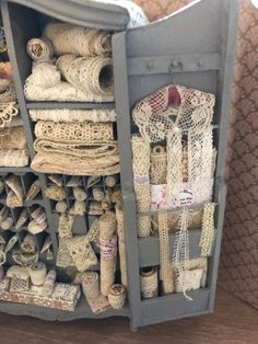 Lace cabinet,full of antique and vintage lace.spoons,trims,and accessories. Antique Lace, Vintage Lace, Vintage Sewing, Arts And Crafts Storage, Craft Storage, Shelf Furniture, Linens And Lace, Sewing Rooms, Vintage Textiles