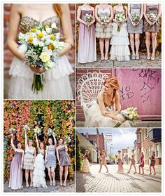 Beautiful mismatched bridesmaid dresses paired with a BHLDN gown. Baie de Beauport Wedding | Juno Photo