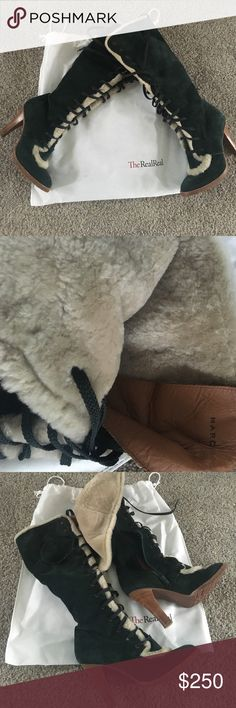 """MARC JACOBS suede fur boots Lush dark green suede lace up tall designer boots with fur lining. 4"""" heel. Rubber soles with tread are in excellent condition (minus the right boot needs a new heel stop). Side zip for easy pull on. Great pre-owned condition! Marc Jacobs Shoes Lace Up Boots"""