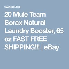 For an all natural cleaning solution look to 20 Mule Team Borax All Natural Laundry Booster. This multi-purpose 20 Mule Borax removes stains and is safe for all washing machines. Natural Cleaning Solutions, Natural Cleaning Products, Laundry Detergent, My Ebay, Improve Yourself, How To Remove, Nature, Free Shipping, Natural Cleaners