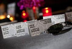 Ticket-themed escort cards