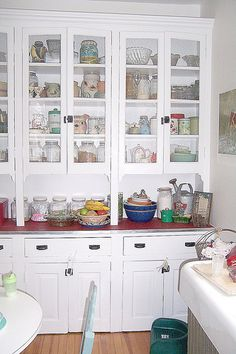 vintage, kitchen cabinets, jars