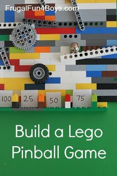 a Lego Pinball Game FUN building challenge for Lego - make a pinball game that really works!FUN building challenge for Lego - make a pinball game that really works! Wedo Lego, Lego Duplo, Van Lego, Lego Challenge, Lego Club, Lego Activities, Lego Craft, Lego For Kids, Lego Building