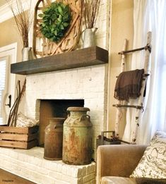 Painted Fireplace Mantels Decorations Farmhouse Mantel I Want A Rustic Chunky White Or Grey 1 - Drinkmorinaga