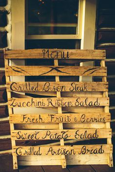 DIY Wooden Menu Sign | Ely Brothers Photography | www.theknot.com