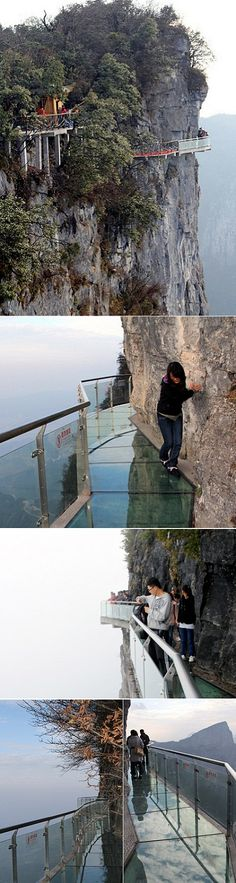 a see-through skywalk / bridge built onthe side of the west cliff at the Yunmeng Fairy Summit in China. Lets go for a walk!