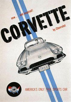 Vintage Chevrolet Corvette Poster Ad - #graphic banner #Illustrations #advertising| http://illustrations-posters.kira.lemoncoin.org