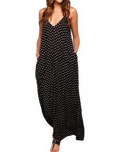Sexy Women Strap Polka Dot Backless V Neck Zipper Beach Dress - Newchic Fashion Dress