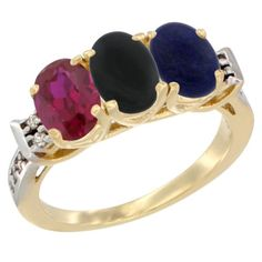 14K Yellow Gold Enhanced Ruby, Natural Black Onyx and Lapis Ring 3-Stone Oval 7x5 mm Diamond Accent, sizes 5 - 10 ** Review more details here : Jewelry Ring Bands