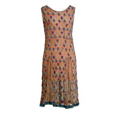 1920's Metallic-Gold Lace Dress with Colorful Floral Beadwork