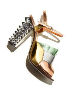 Fendi Runway Mirrored Pyramid Stud-Heel Sandal.
