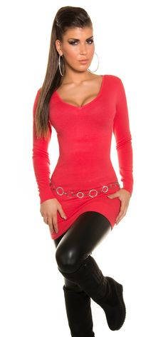 Longpullover mit Strass in Coral
