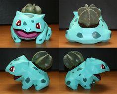 bulbasaur flower pot in papier mache