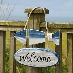 Wooden Fish Design Seaside Welcome Sign Fish Crafts, Beach Crafts, Driftwood Crafts, Wooden Crafts, Lake Decor, Coastal Decor, Wood Fish, Fish Design, Beach Signs