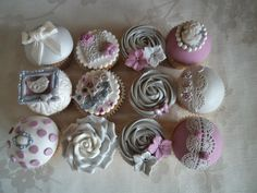 purple claret and white cupcakes