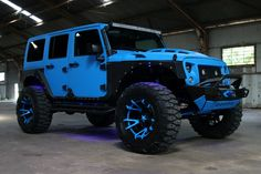 Electric blue jacked up Jeep Wrangler with matching blue rims Jeep Rubicon, Blue Jeep Wrangler, Jeep 4x4, Jeep Truck, Gmc Trucks, Jeep Wranglers, Jeep Wrangler Custom, Jeep Wrangler Sport Unlimited, Custom Jeep