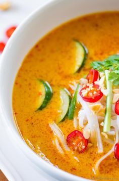 Rich and flavorful coconut curry broth of Laksa Soup | chefdehome.com