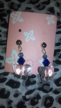 Blue and clear Swarovski earrings