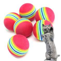 6Pcs Colorful Pet Cat Kitten Soft Foam Rainbow Play Balls