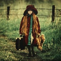 Running away from home.via blessed wild apple girl Little Red, Little Girls, Thing 1, Running Away, Girl Running, Green And Brown, Children Photography, Dreamy Photography, Photography Ideas