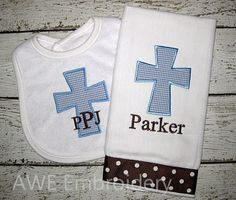 Monogrammed Cross Burp Cloth and Bib for Baby Boy by AWEembroidery, $19.95