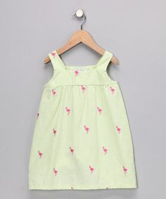 Take a look at this Ollie & Bess Green Flamingo Babydoll Dress - Toddler & Girls by Pattern Play Collection on #zulily today!