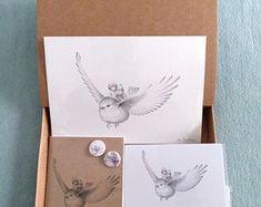 CAJAS REGALO - Ilustración de Fantasía - Petirrojo Volando