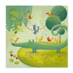 Kinderzimmerbild 'Krokodil' grün in 3 Größen